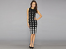 KAMALIKULTURE - Shift Dress To Knee w/ Slit (Ombre Dots-Black/Off White) - Apparel