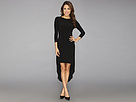 KAMALIKULTURE - 3/4 Sleeve Crew Neck High-Low Dress (Black) - Apparel