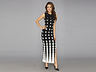 KAMALIKULTURE - Shift Maxi Gown w/ Slit (Ombre Dots-Black/Off White) - Apparel