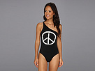 KAMALIKULTURE - One-Shoulder Mio Swimsuit w/ Peace Graphic (Black w/ OW Peace) - Apparel
