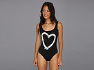 KAMALIKULTURE - Low Back Tank Mio Swimsuit w/ Heart Graphic (Black w/ OW Heart)