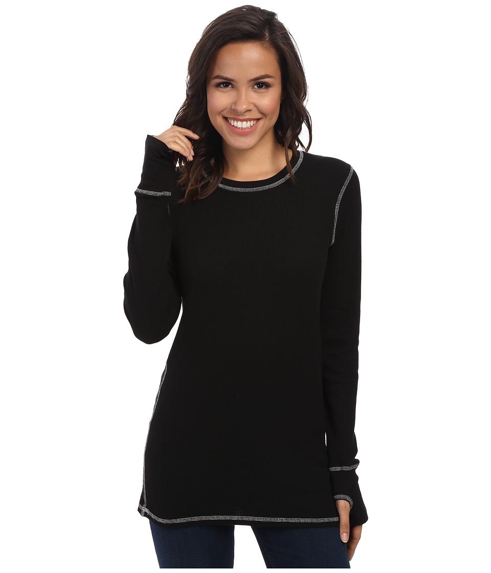 Allen Allen L/S Thumbhole Tee Thermal Crew Black Womens Long Sleeve Pullover