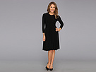 KAMALIKULTURE - 3/4 Sleeve Crew Neck Flare Dress w/ Belt (Black) - Apparel