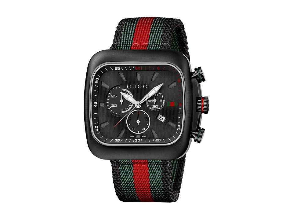 Gucci Coupe 44mm Chronograph Nylon Strap Watch YA131202 Black/Green/Red Watches