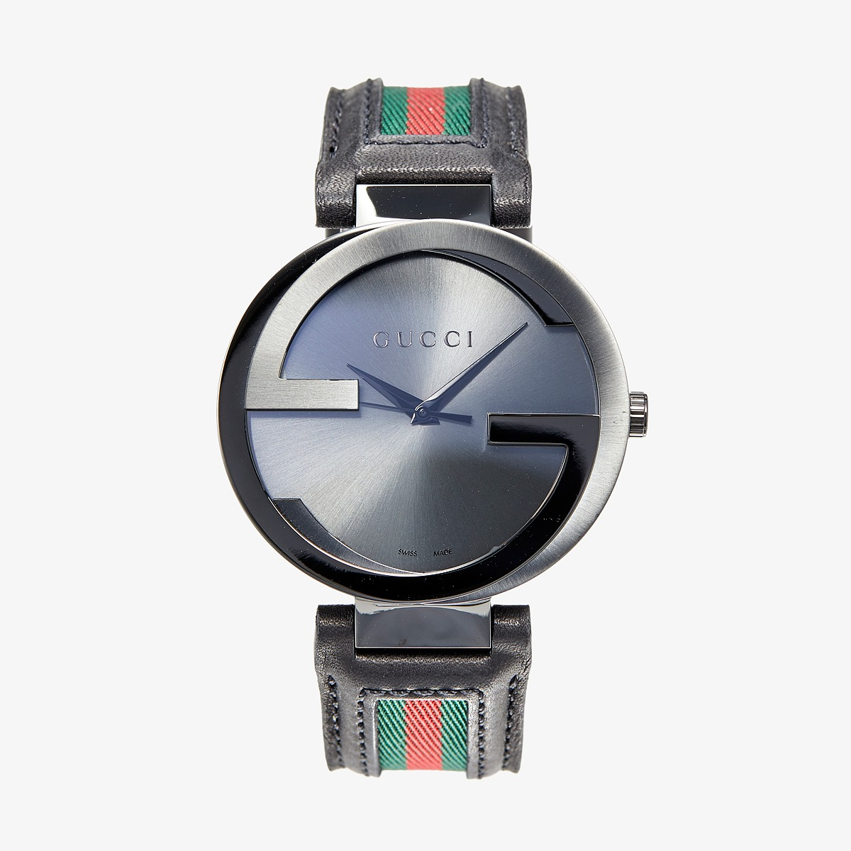 Gucci Interlocking 42mm Leather and Nylon Strap Watch YA133206 Black/Anthracite/Green/Red Watches