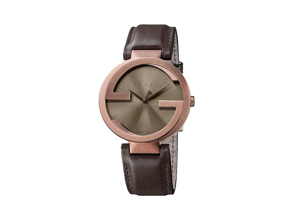 Gucci Interlocking 42mm Leather Strap Watch YA133207 Brown Watches
