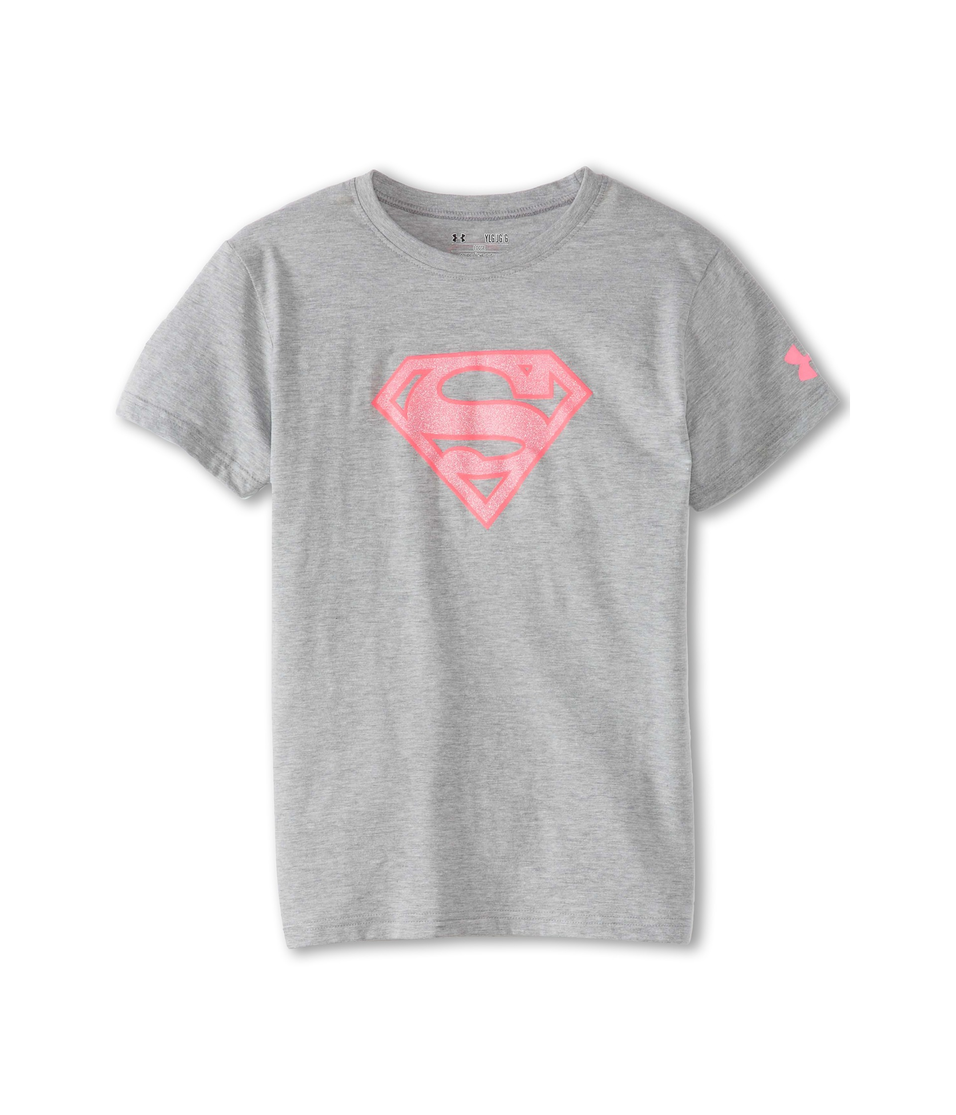 Under armour kids supergirl t shirt big kids grey pink for Under armour shirts for kids