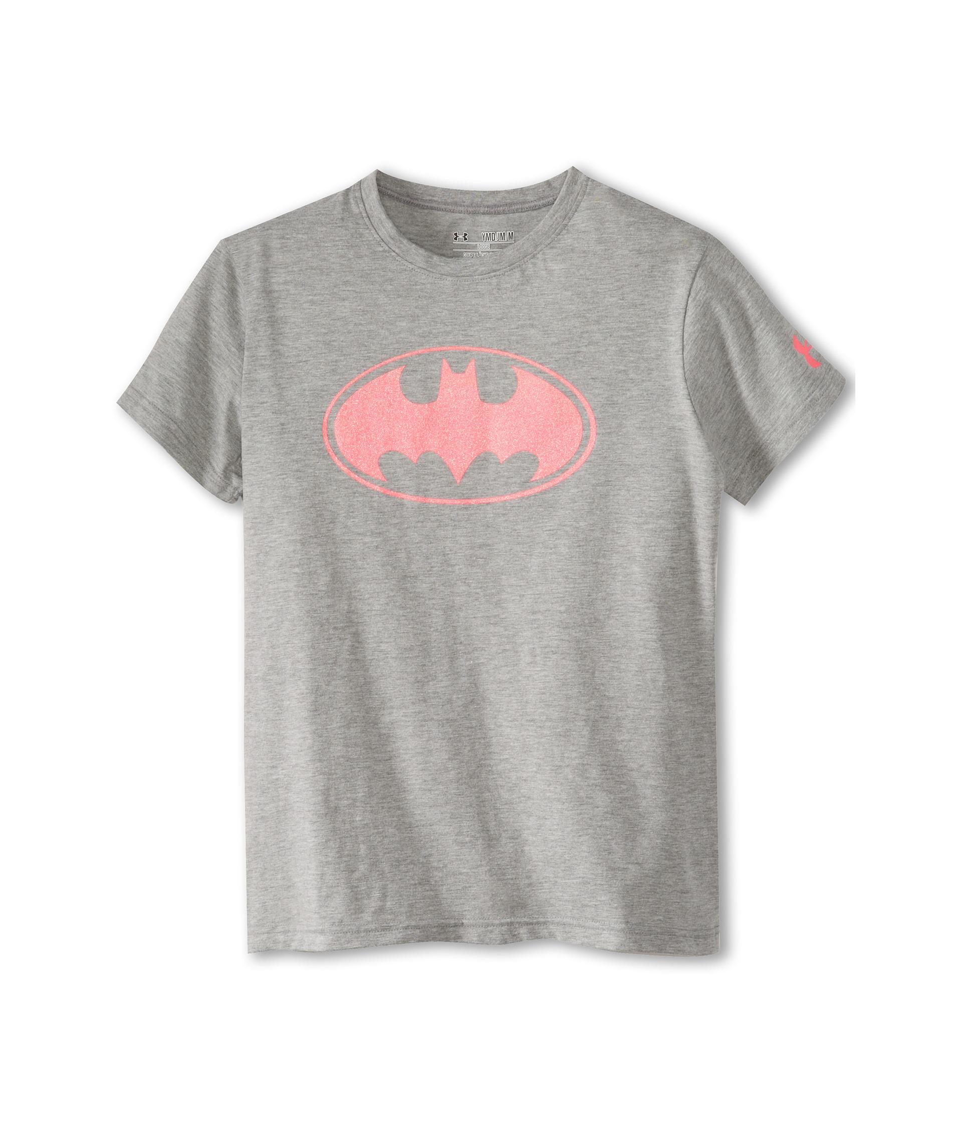 Under armour kids batgirl sparkle t shirt big kids grey for Under armour shirts for kids