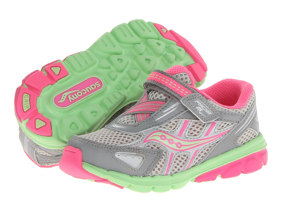 Saucony Kids Baby Ride 6 Toddler/Little Kid Grey/Pink/Green Girls Shoes