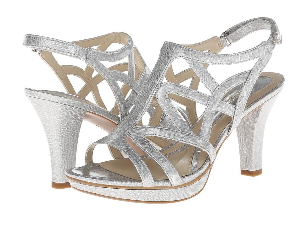 Naturalizer Danya Soft Silver Crosshatch Shiny Womens Sandals