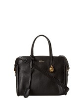 Alexander McQueen - Gold Skull Leather Padlock Top Handle Bag Black