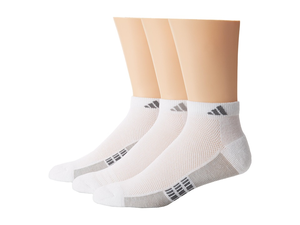 adidas Climacool Superlite 3 Pack Low Cut Socks White/Aluminum 2/Medium Lead Mens Low Cut Socks Shoes