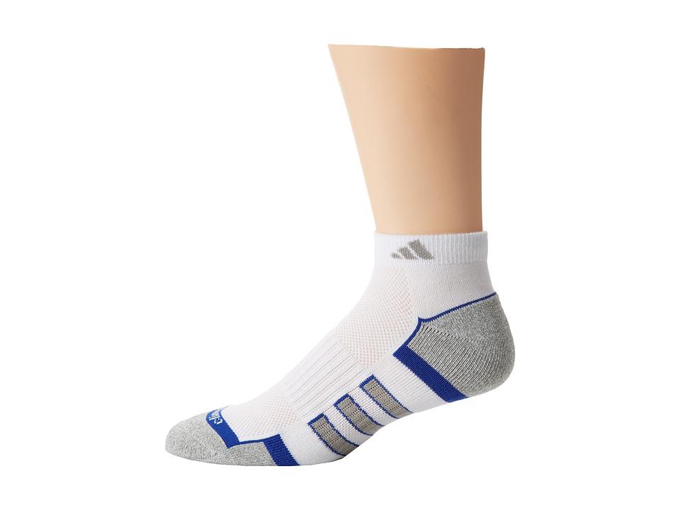 adidas Climalite II 2 Pack Low Cut Socks White/Cobalt/Aluminum 2/Aluminum 2 Marl Mens Low Cut Socks Shoes