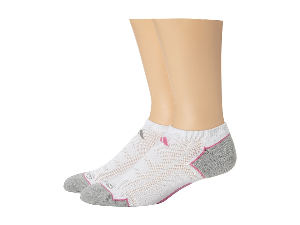 adidas Climacool II 2 Pack No Show Socks White/Aluminum 2/Mono Pink/Aluminum 2 Womens No Show Socks Shoes