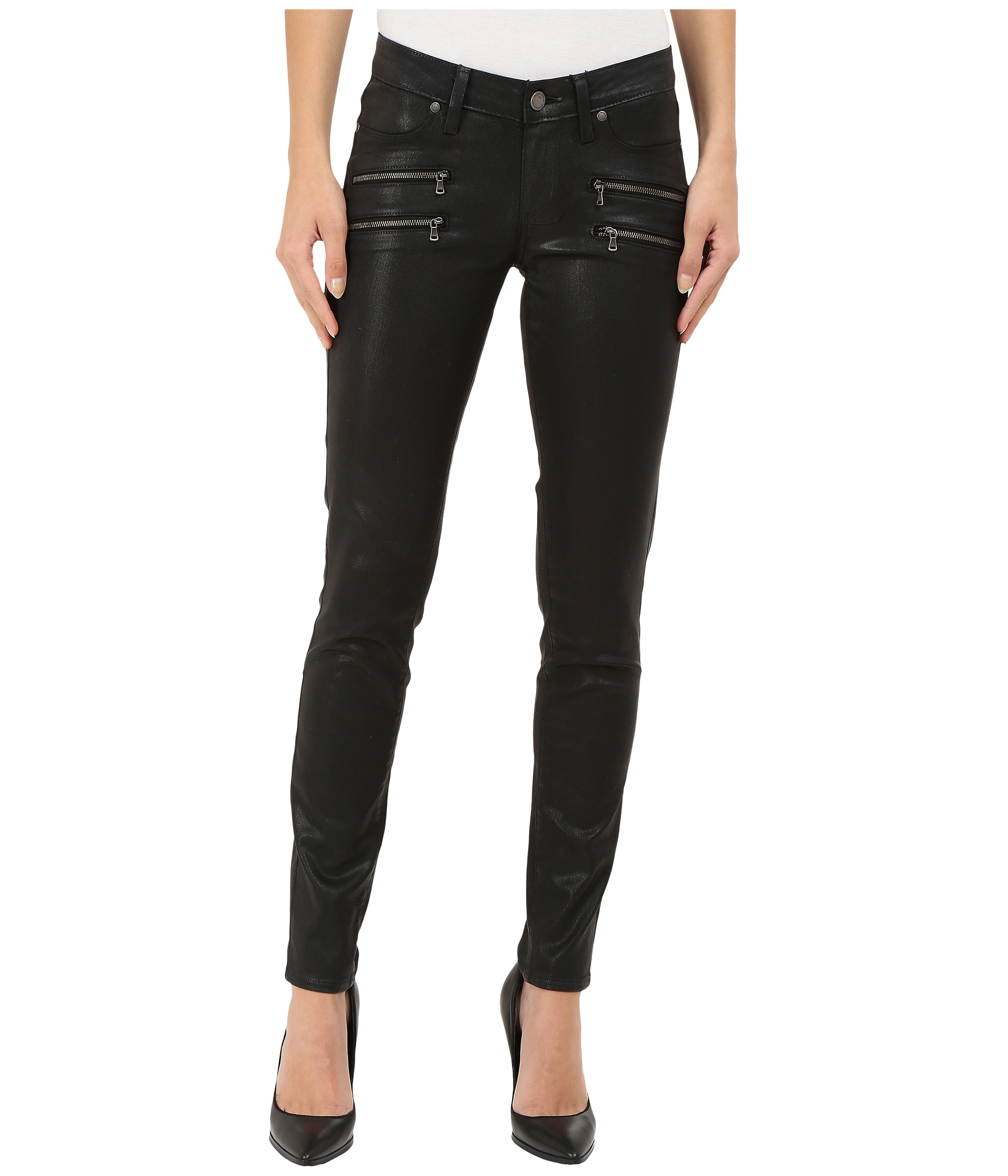 Paige edgemont ultra skinny in black silk coating at for The edgemont