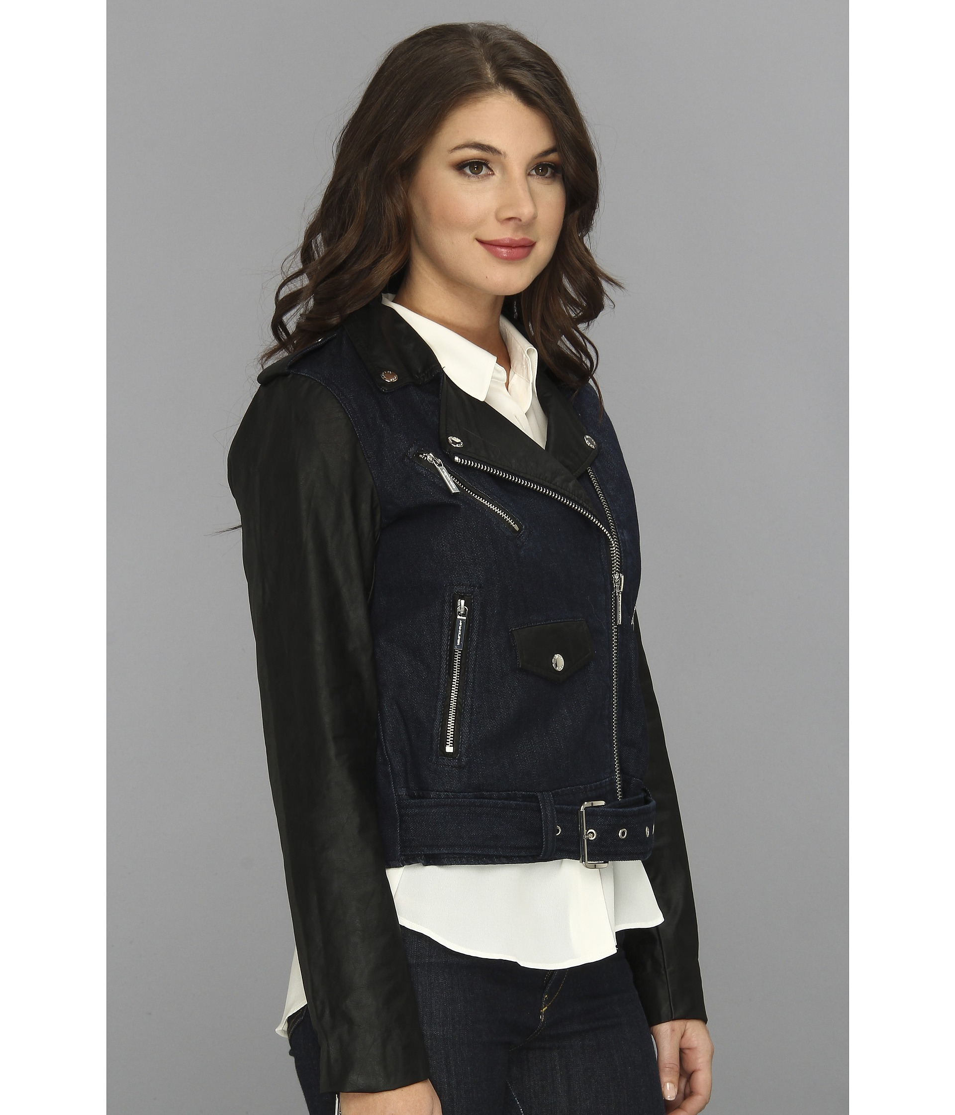 michael michael kors denim moto jacket w faux leather sleeves shipped free at zappos. Black Bedroom Furniture Sets. Home Design Ideas