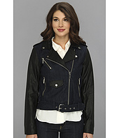 MICHAEL Michael Kors - Denim Moto Jacket w/ Faux Leather Sleeves