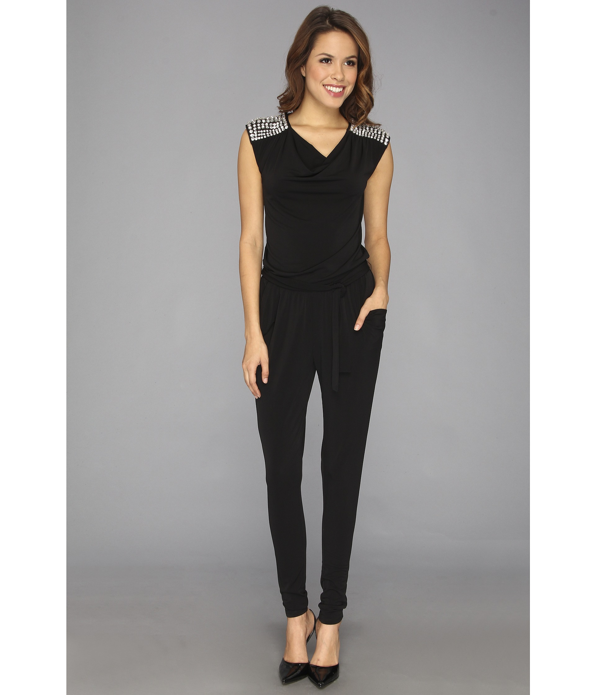 michael michael kors s l cowl rhinestone jumpsuit shipped free at zappos. Black Bedroom Furniture Sets. Home Design Ideas
