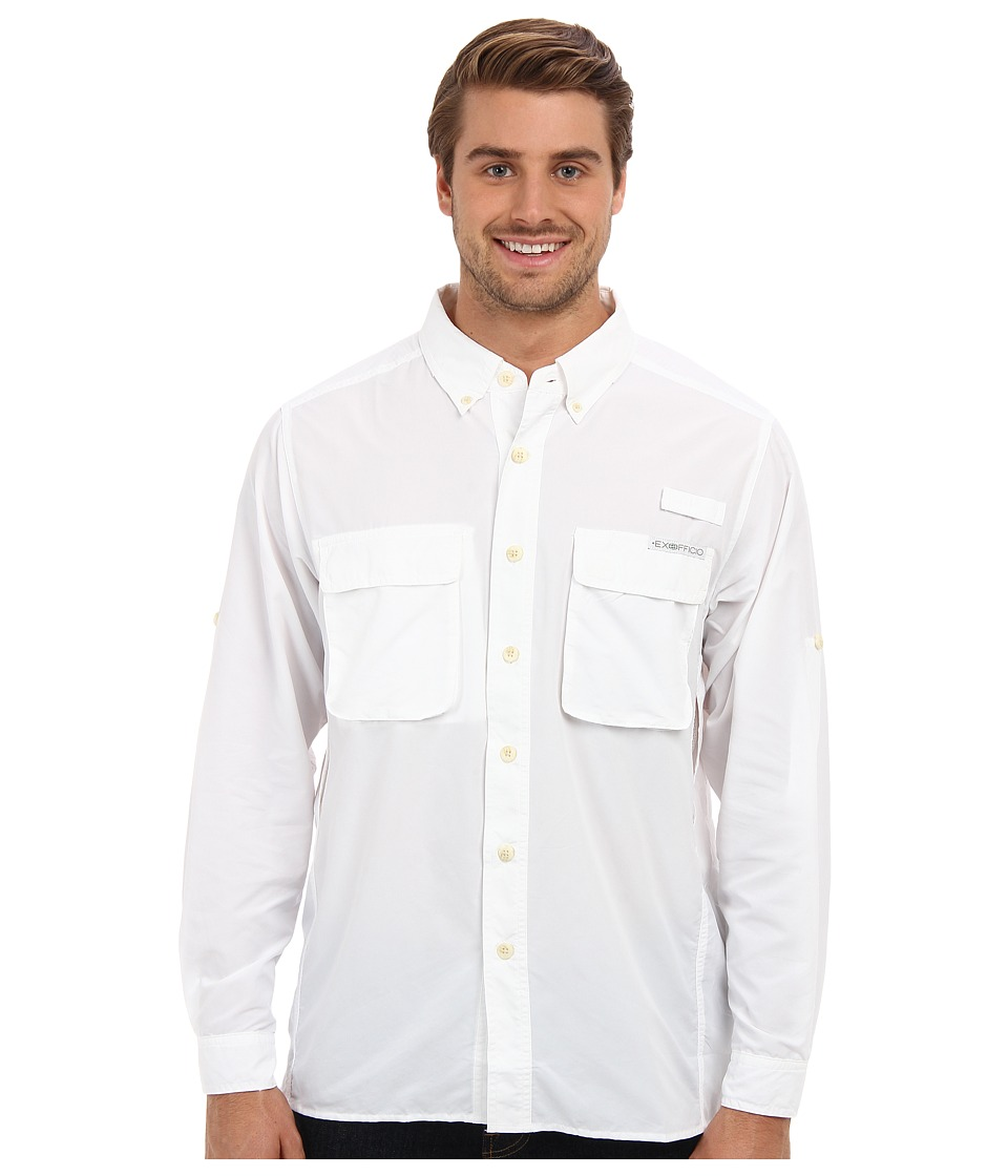 ExOfficio Air Strip Long Sleeve Top White Mens Long Sleeve Button Up