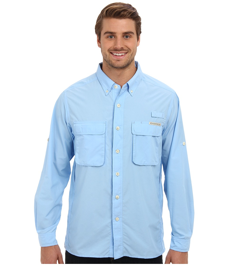 ExOfficio Air Strip Long Sleeve Top Light Lapis Mens Long Sleeve Button Up
