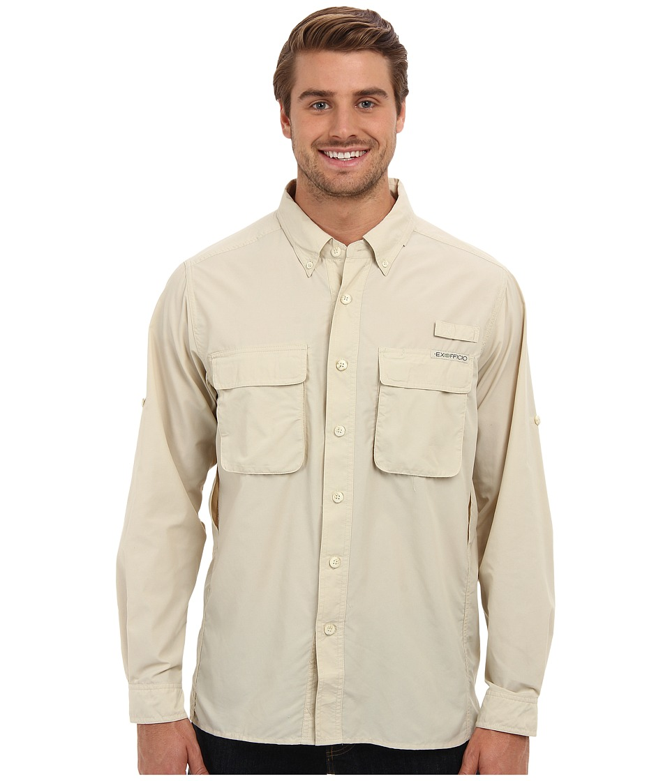ExOfficio Air Strip Long Sleeve Top Bone Mens Long Sleeve Button Up
