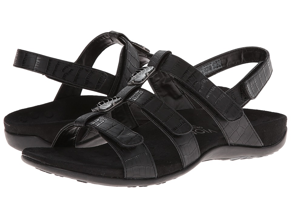 VIONIC Amber Black Croco Womens Sandals