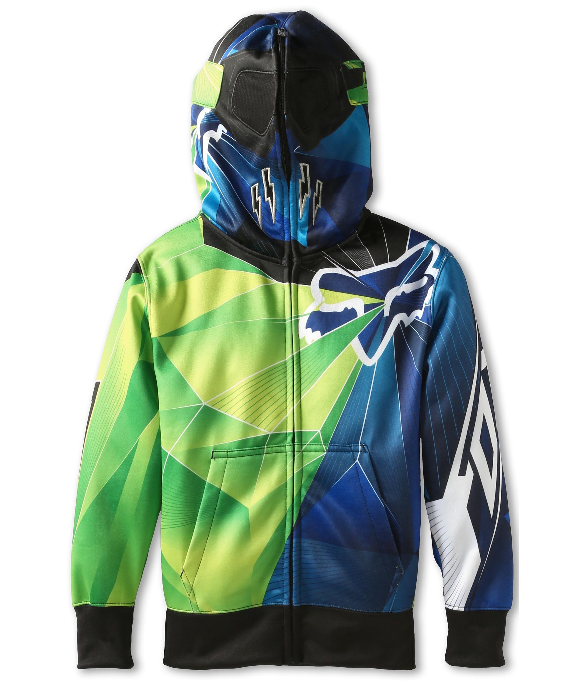 Fox Kids Radeon Fleece Full Zip Hoodie Big Kids Day Glo Green on
