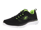 SKECHERS - Flex Advantage Tune In (Black/Lime) - Footwear