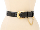 LAUREN Ralph Lauren 1 1/4 Patent Belt w/ Double Keeper Chain Toggle Detail