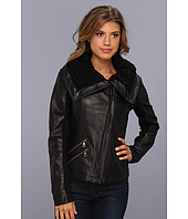 Sam Edelman - Lambskin Leather Jacket w/ Cable Knit