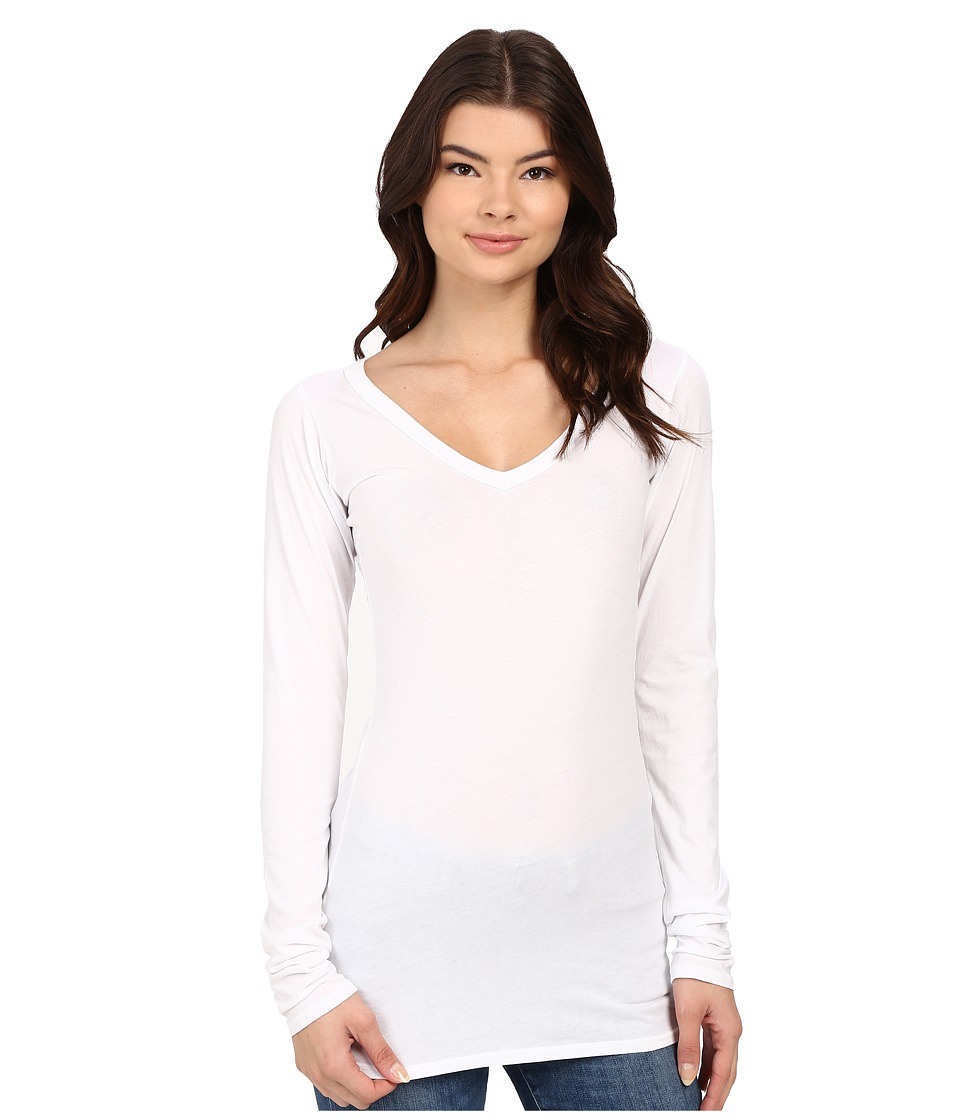 LAmade - Fitted V-Neck Tee (White) Womens Long Sleeve Pullover