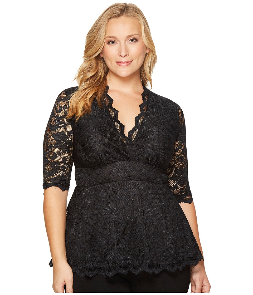 Kiyonna Linden Lace Top (Black/Black) Women's Blouse