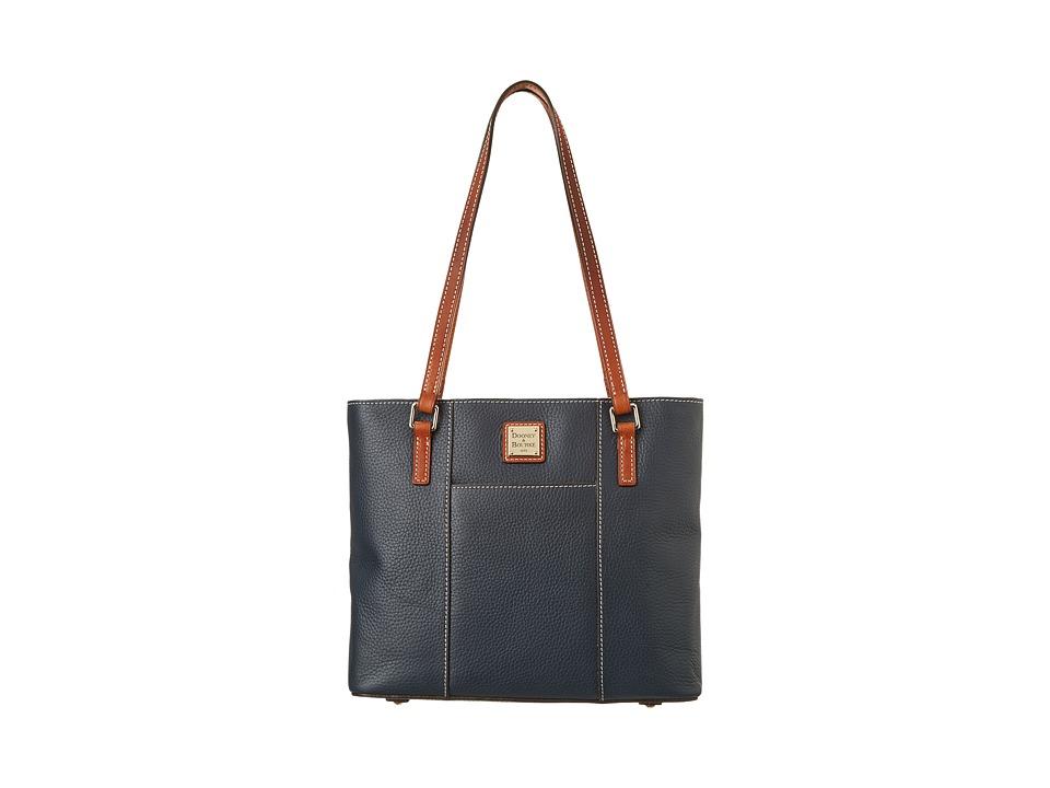 Dooney amp Bourke Small Lexington Shopper Marine w/ Tan Trim Tote Handbags