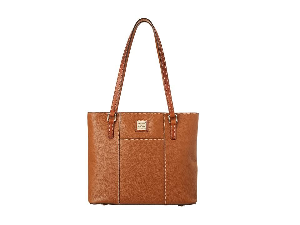 Dooney amp Bourke Small Lexington Shopper Caramel w/ Tan Trim Tote Handbags