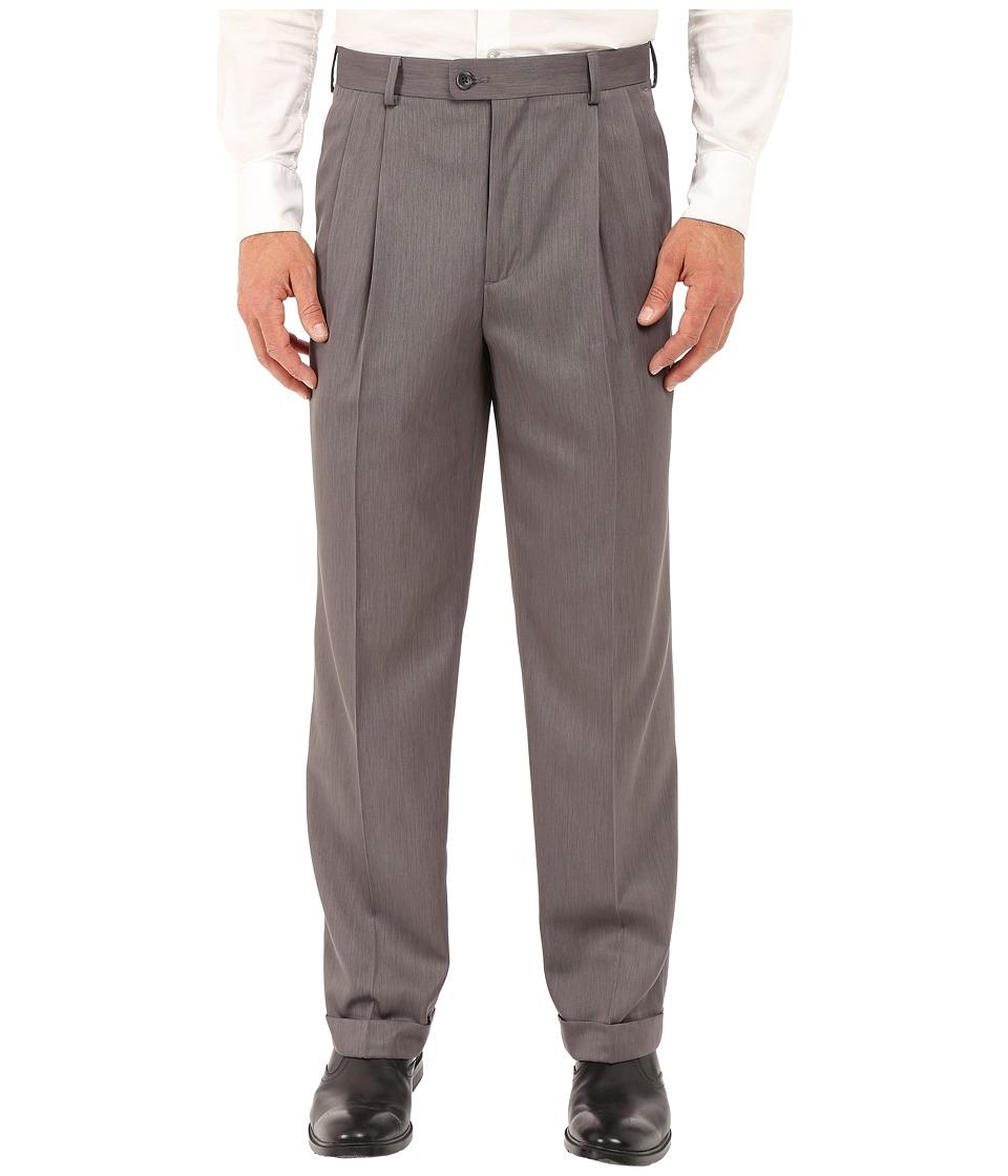 Perry Ellis Portfolio Classic Fit Double Pleat Micro Melange Pant Grey Heather Mens Casual Pants