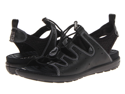 ECCO - Jab Toggle Sandal (Black/Black Feather/Textile/Sole) - Footwear