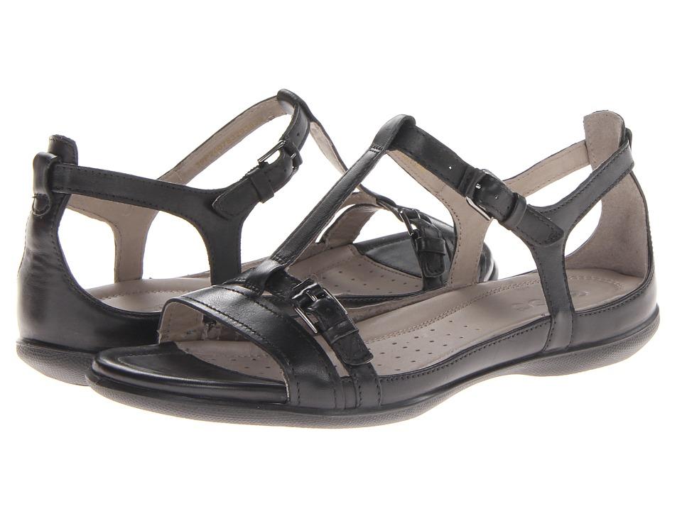 ECCO Flash T-Strap Sandal (Black Dress) Women's Sandals