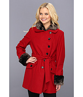 Esprit  Asymmetrical Belted Wool Coat with Faux Fur Removable Collar/Cuffs  image