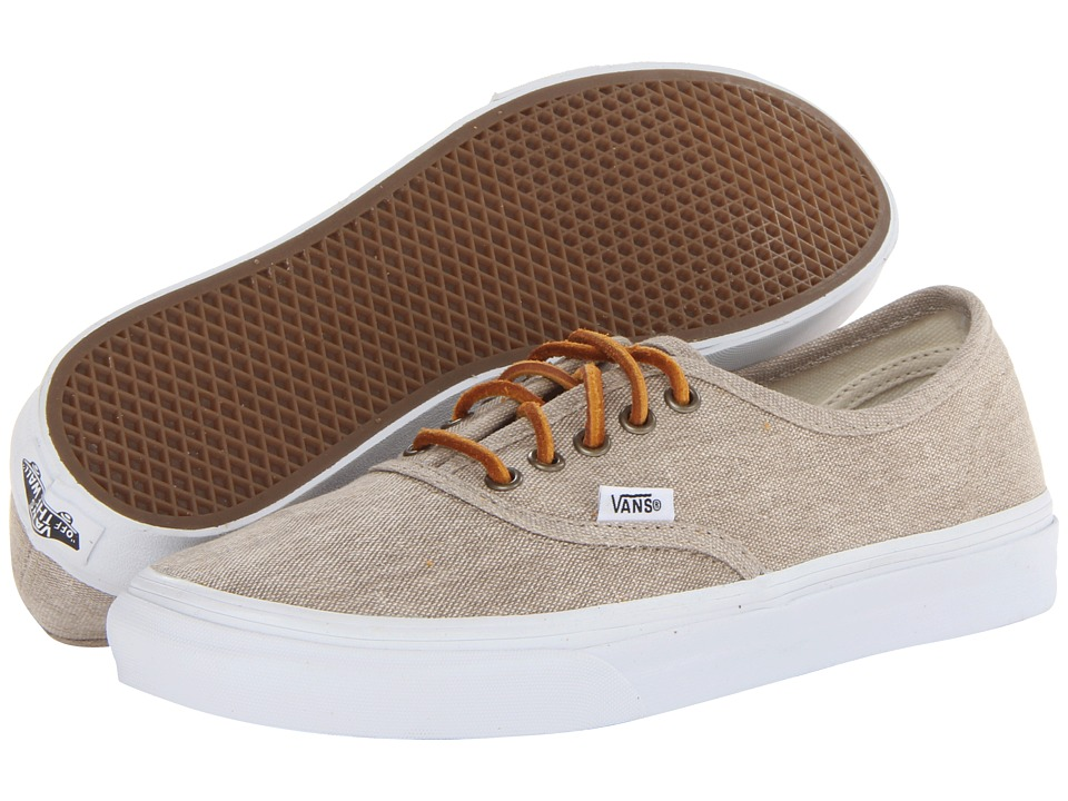 Vans - Authentictm Slim ((Washed Canvas) Cream/True White) Skate Shoes