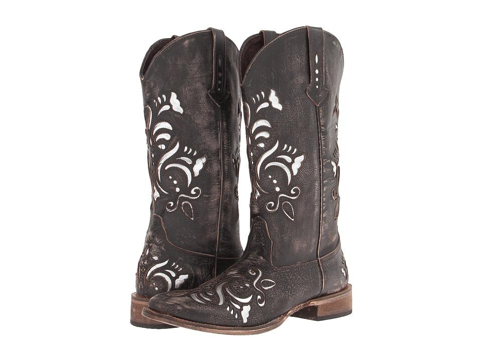 Roper Laser Cut Metallic Underlay Boot (Tan/Silver) Cowboy Boots