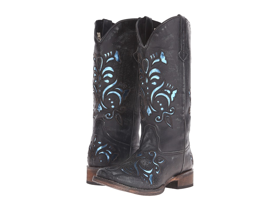 Roper Laser Cut Metallic Underlay Boot (Black/Blue) Cowboy Boots