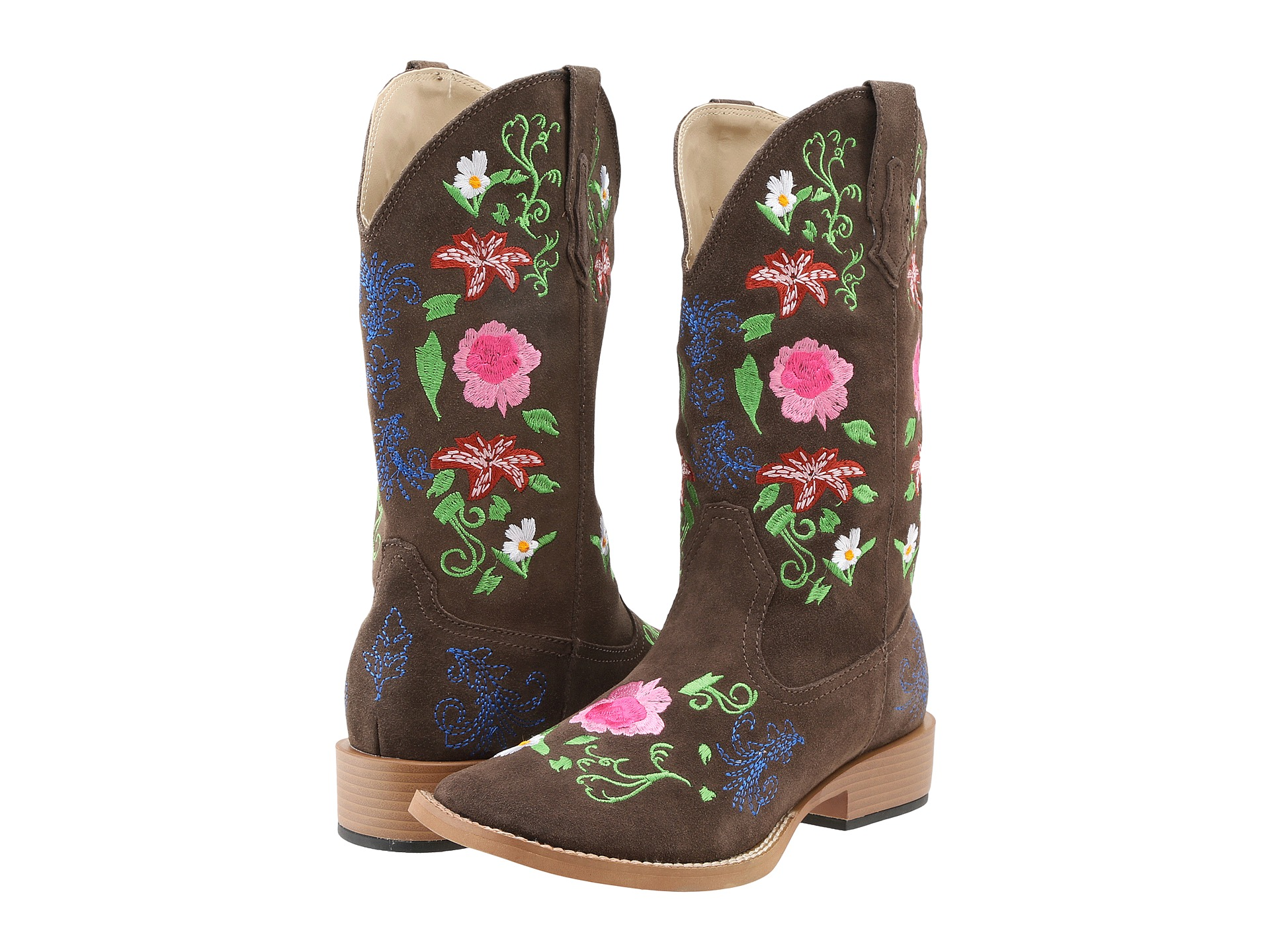 roper multi floral embroidered suede boot shipped free