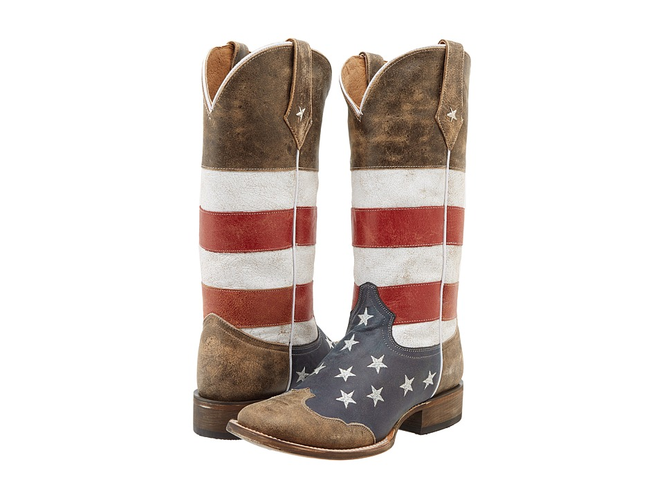 Roper American Flag Square Toe Boot (Brown) Women
