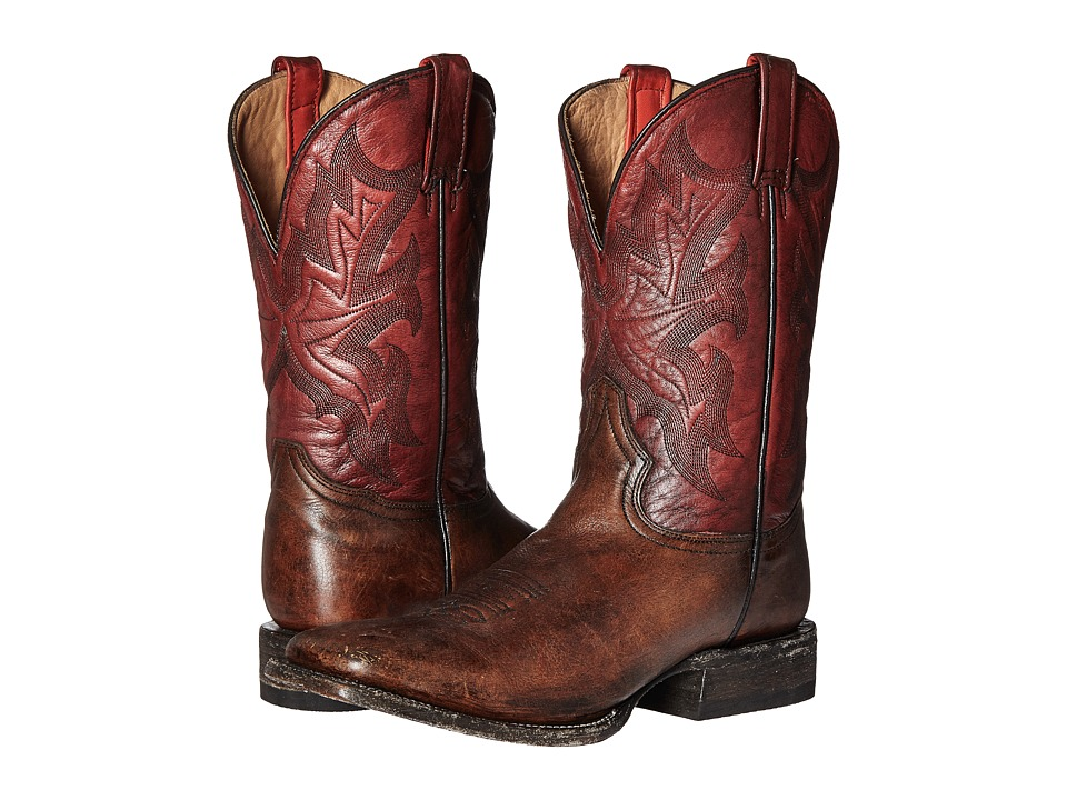 Stetson - 11 Double Welt Wide Square Toe (Antique Honey Cow Leather/Vintage Red) Cowboy Boots