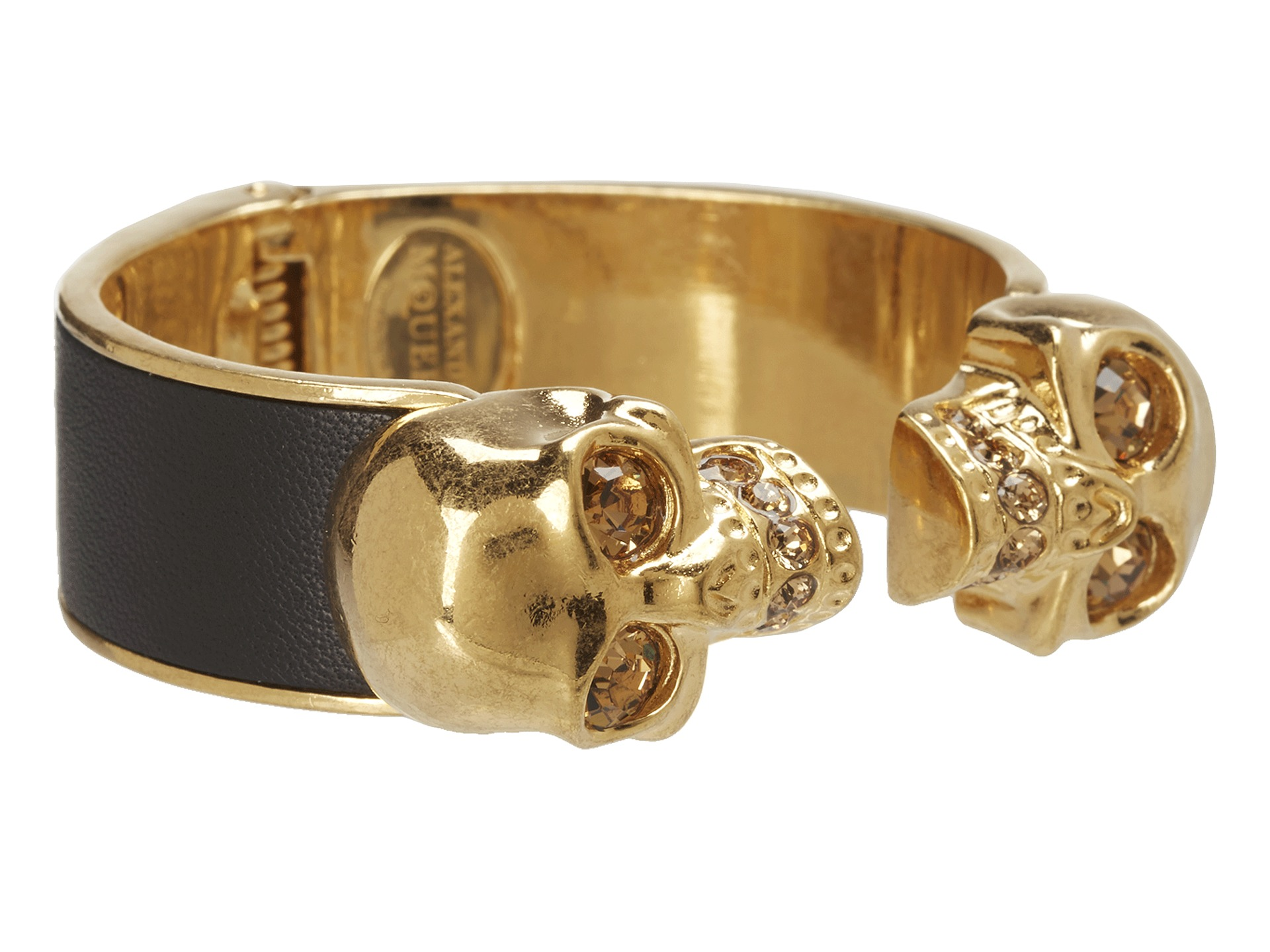 Alexander McQueen Two Skull Metal/Leather Bracelet ...