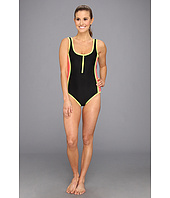 TYR - Huntington Beach Solid Zipper Low Back One-Piece Swimsuit