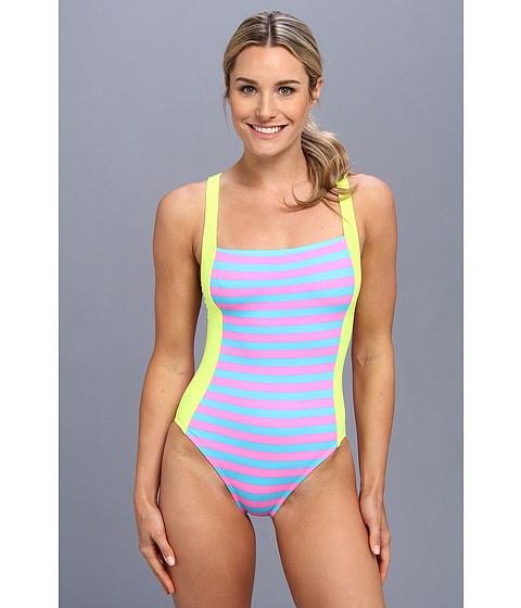 TYR - Huntington Beach Stripes Deep V-Back One-Piece Swimsuit (Black) - Apparel