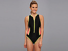 TYR - Huntington Beach Solid Zipper One-Piece Swimsuit (Black) - Apparel<br />