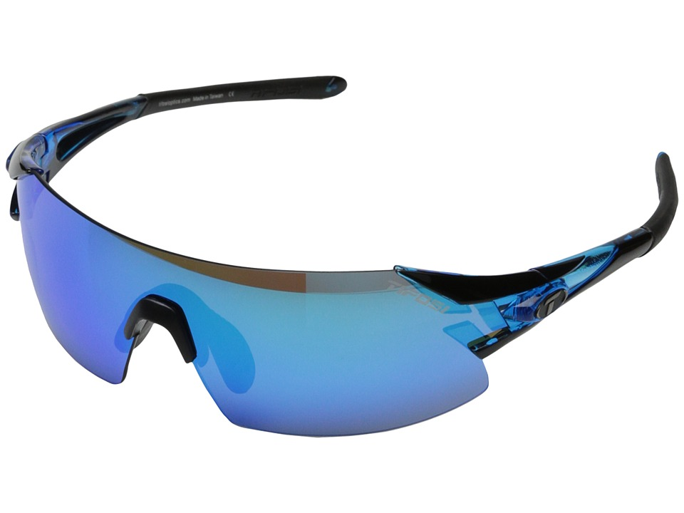 Tifosi Optics - Podiumtm XC Mirrored Interchangeable (Crystal Blue/Clarion Blue/AC Red/Clear Lens) Athletic Performance Sport Sunglasses
