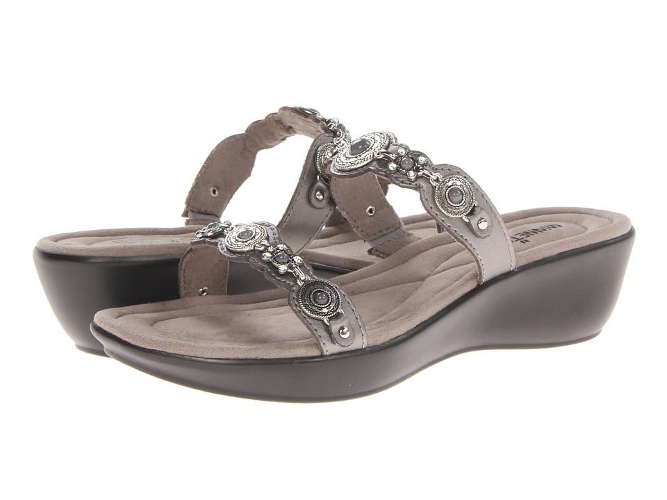 Minnetonka Boca Slide II Pewter Leather/Grey Womens Sandals